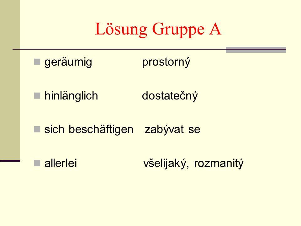 Lösung Gruppe A geräumig prostorný hinlänglich dostatečný sich beschäftigen zabývat se allerlei všelijaký, rozmanitý