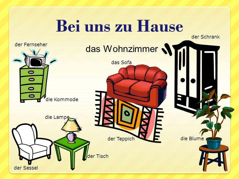 das Schlafzimmer Bei uns zu Hause das Bett der Stuhl der Teppich die Kommode