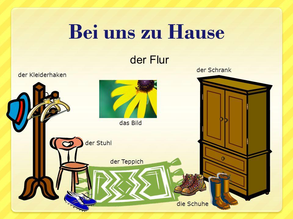 der Flur Bei uns zu Hause das Bild der Schrank der Kleiderhaken die Schuhe der Teppich der Stuhl