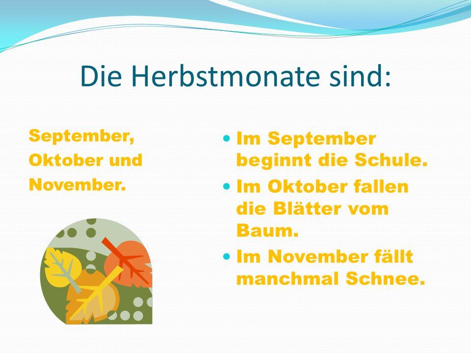 Die Herbstmonate sind: September, Oktober und November. Im September beginnt die Schule. Im Oktober fallen die Blätter vom Baum. Im November fällt man