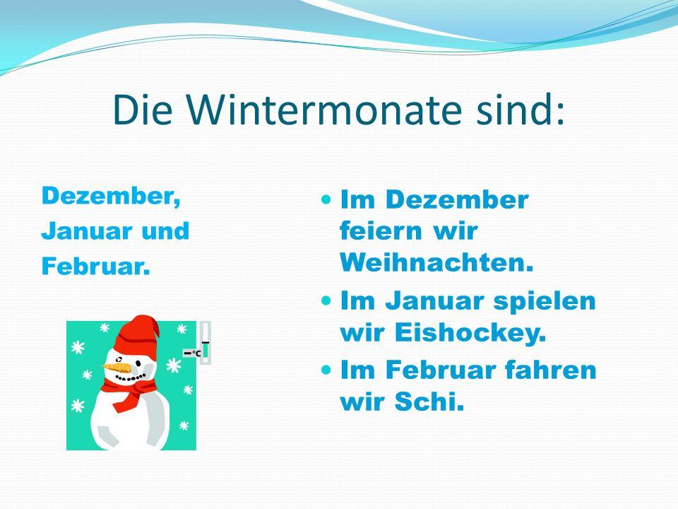 Die Wintermonate sind: Dezember, Januar und Februar. Im Dezember feiern wir Weihnachten. Im Januar spielen wir Eishockey. Im Februar fahren wir Schi.