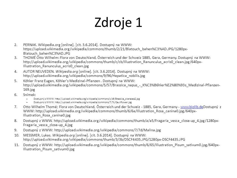 Zdroje 1 2.PERNAK. Wikipedia.org [online]. [cit. 3.6.2014]. Dostupný na WWW: https://upload.wikimedia.org/wikipedia/commons/thumb/2/21/Blatouch_bahen%