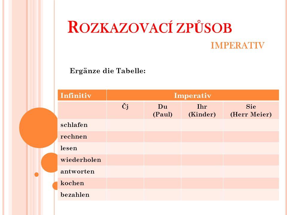 Ergänze die Tabelle: R OZKAZOVACÍ ZP Ů SOB IMPERATIV InfinitivImperativ ČjDu (Paul) Ihr (Kinder) Sie (Herr Meier) schlafen rechnen lesen wiederholen antworten kochen bezahlen