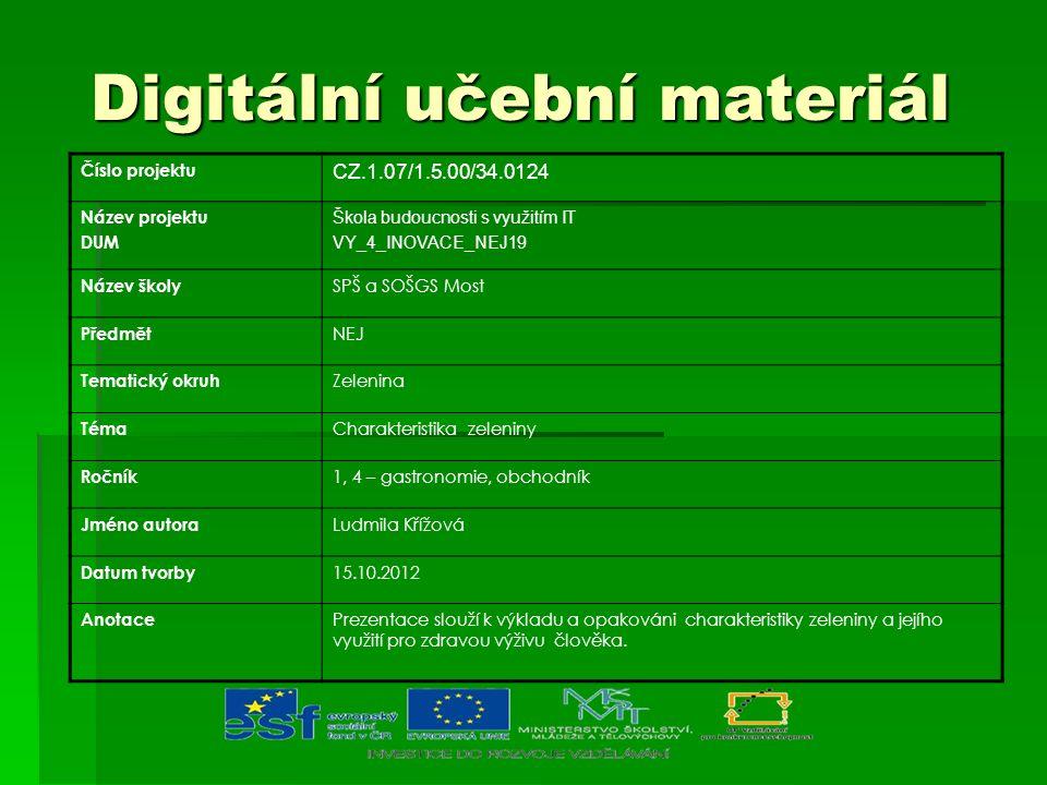 Digitální učební materiál Digitální učební materiál Číslo projektu CZ.1.07/1.5.00/34.0124 Název projektu DUM Škola budoucnosti s využitím IT VY_4_INOV