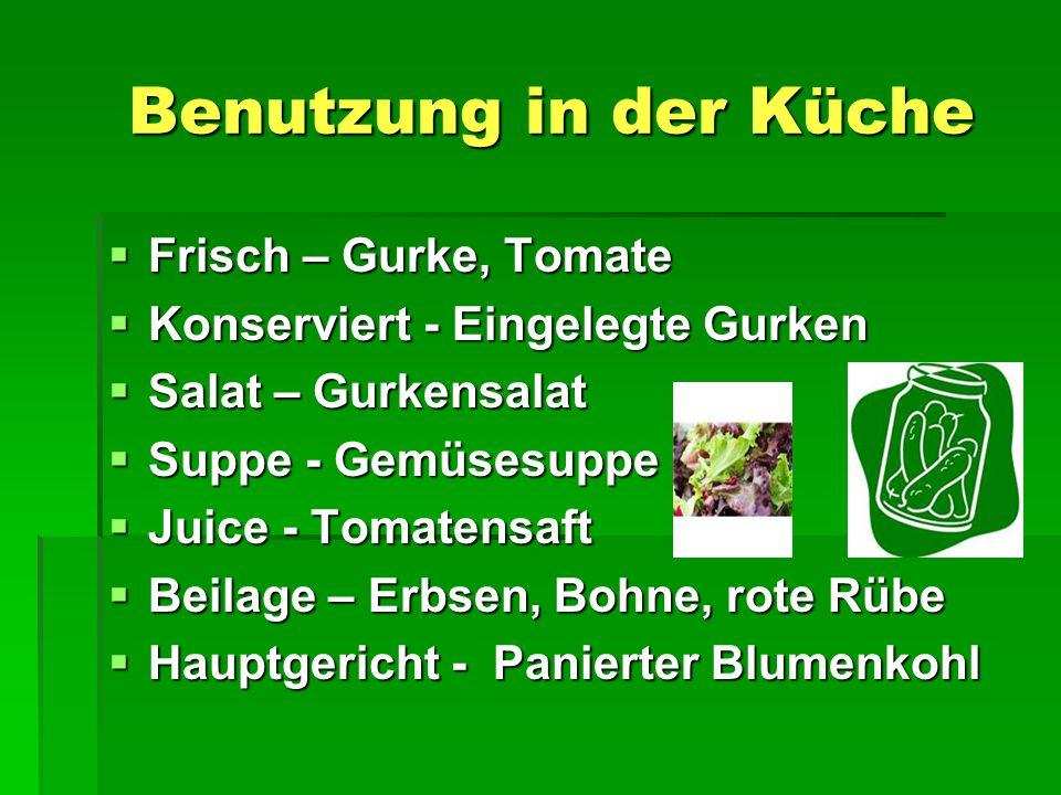 Benutzung in der Küche Benutzung in der Küche  Frisch – Gurke, Tomate  Konserviert - Eingelegte Gurken  Salat – Gurkensalat  Suppe - Gemüsesuppe  Juice - Tomatensaft  Beilage – Erbsen, Bohne, rote Rübe  Hauptgericht - Panierter Blumenkohl