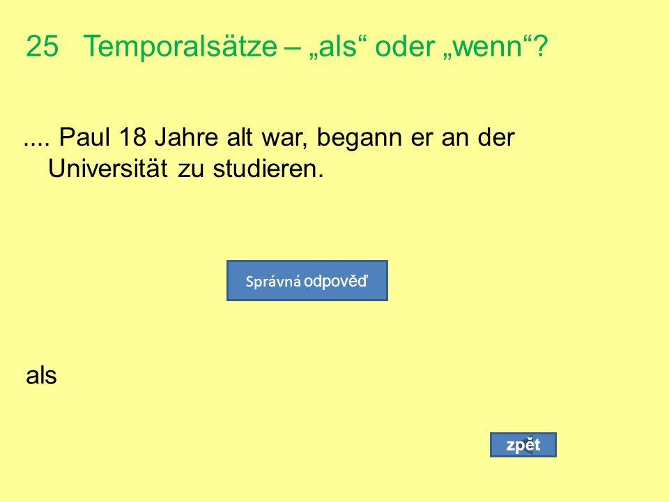 """25 Temporalsätze – """"als oder """"wenn ...."""