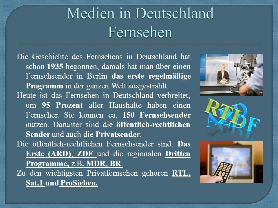 Die Geschichte des Fernsehens in Deutschland hat schon 1935 begonnen, damals hat man über einen Fernsehsender in Berlin das erste regelmäßige Programm in der ganzen Welt ausgestrahlt.