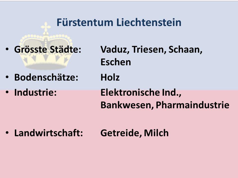 Fürstentum Liechtenstein Grösste Städte:Vaduz, Triesen, Schaan, Eschen Bodenschätze:Holz Industrie:Elektronische Ind., Bankwesen, Pharmaindustrie Landwirtschaft:Getreide, Milch