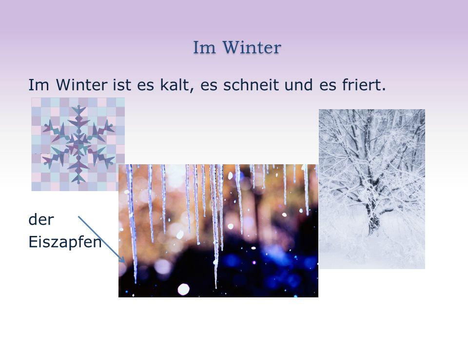 Im Winter Im Winter Im Winter ist es kalt, es schneit und es friert. friert. der Eiszapfen