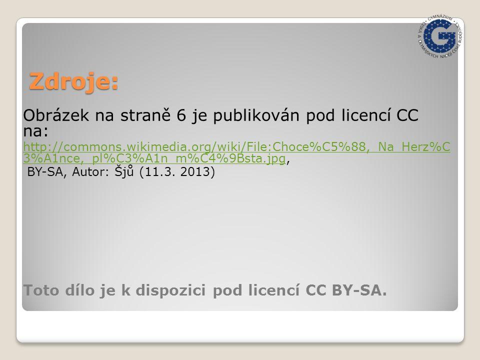 Zdroje: Obrázek na straně 6 je publikován pod licencí CC na: http://commons.wikimedia.org/wiki/File:Choce%C5%88,_Na_Herz%C 3%A1nce,_pl%C3%A1n_m%C4%9Bsta.jpghttp://commons.wikimedia.org/wiki/File:Choce%C5%88,_Na_Herz%C 3%A1nce,_pl%C3%A1n_m%C4%9Bsta.jpg, BY-SA, Autor: Šjů (11.3.