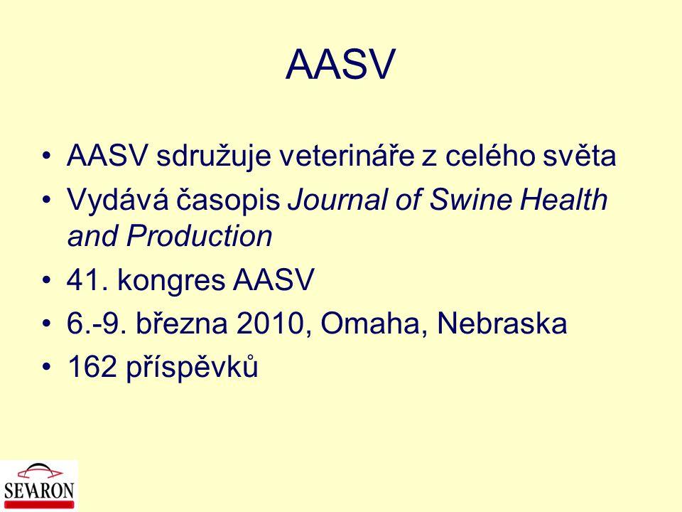 AASV AASV sdružuje veterináře z celého světa Vydává časopis Journal of Swine Health and Production 41. kongres AASV 6.-9. března 2010, Omaha, Nebraska