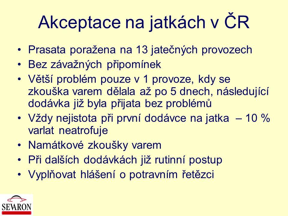 Akceptace na jatkách v ČR Prasata poražena na 13 jatečných provozech Bez závažných připomínek Větší problém pouze v 1 provoze, kdy se zkouška varem dě