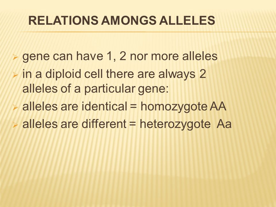  gene can have 1, 2 nor more alleles  in a diploid cell there are always 2 alleles of a particular gene:  alleles are identical = homozygote AA  a