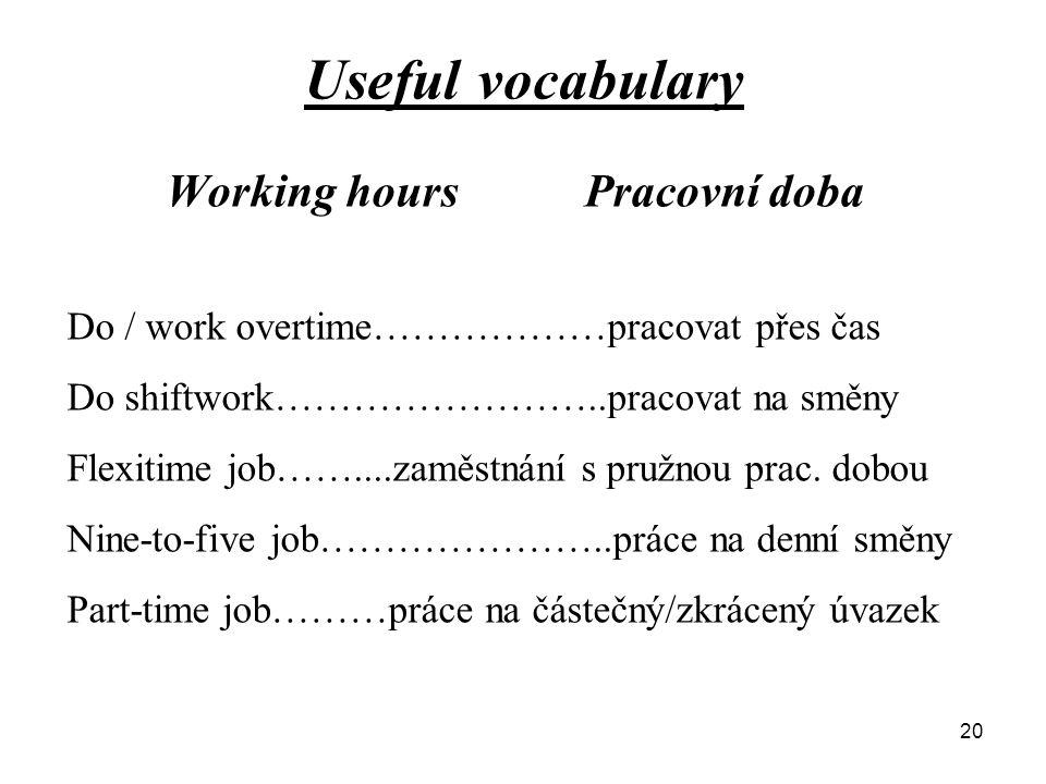 Useful vocabulary Working hoursPracovní doba Do / work overtime………………pracovat přes čas Do shiftwork……………………..pracovat na směny Flexitime job……....zaměstnání s pružnou prac.