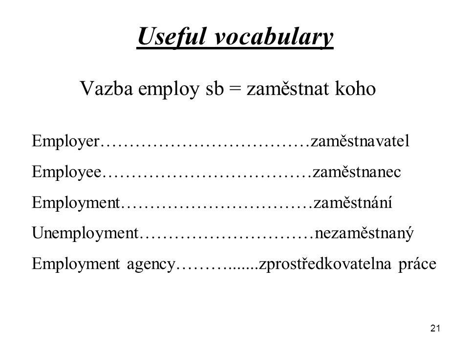 Useful vocabulary Vazba employ sb = zaměstnat koho Employer………………………………zaměstnavatel Employee………………………………zaměstnanec Employment……………………………zaměstnání Unemployment…………………………nezaměstnaný Employment agency……….......zprostředkovatelna práce 21