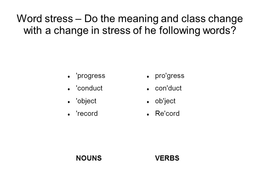 Word stress – Do the meaning and class change with a change in stress of he following words.