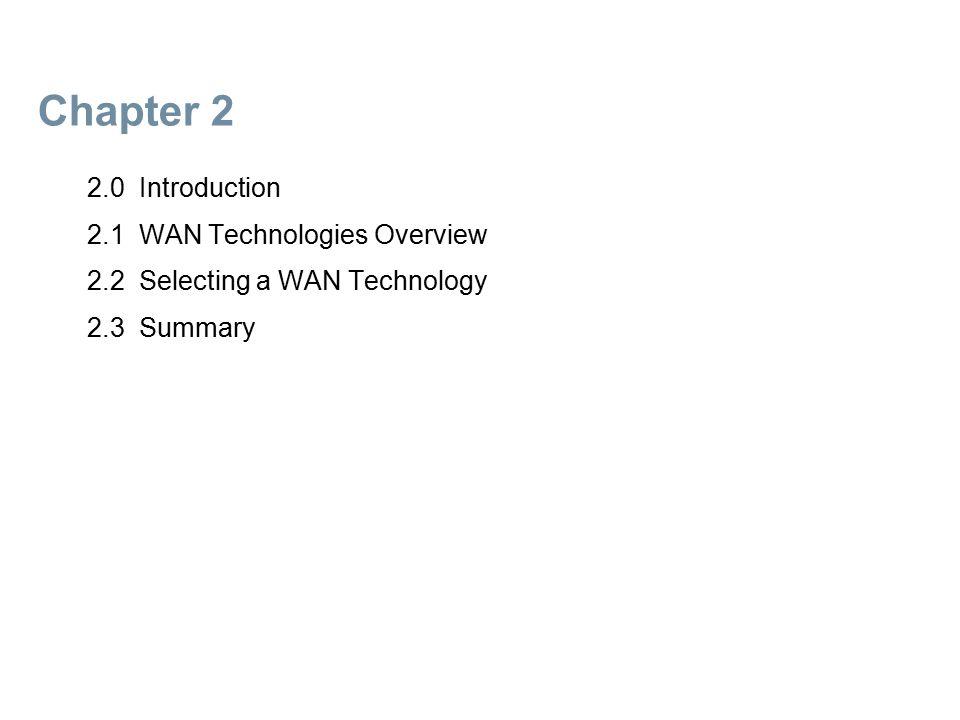 2.1 WAN Technologies Overview