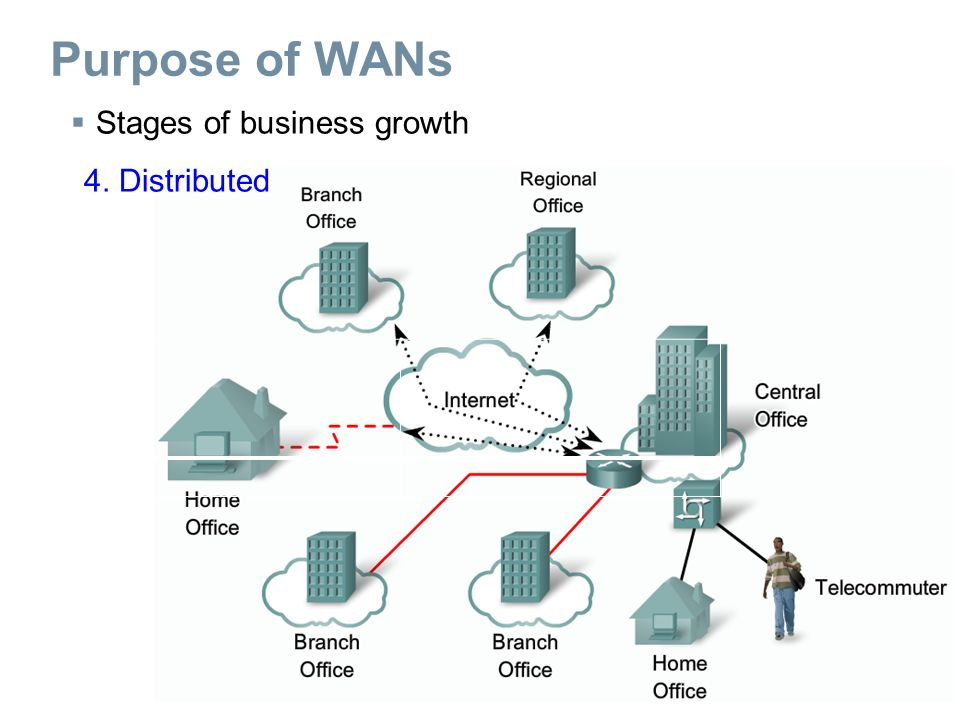  Stages of business growth 4. Distributed Purpose of WANs