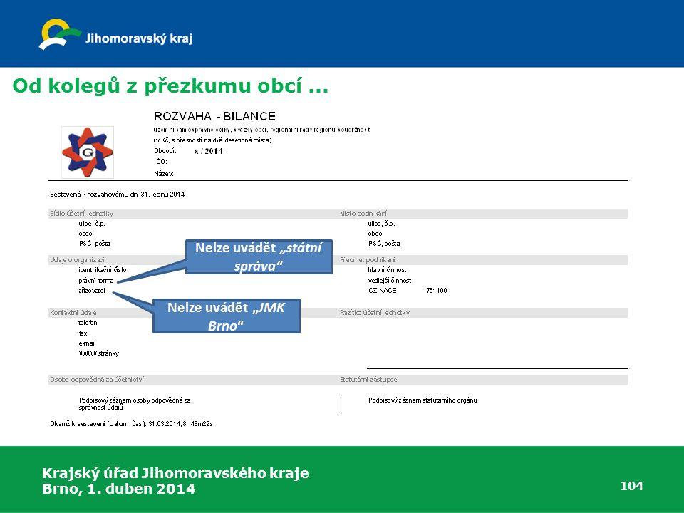Krajský úřad Jihomoravského kraje Brno, 1. duben 2014 104 Od kolegů z přezkumu obcí...