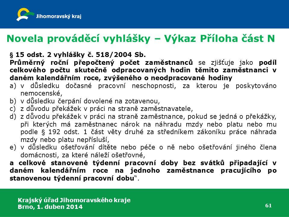 Krajský úřad Jihomoravského kraje Brno, 1. duben 2014 61 § 15 odst.