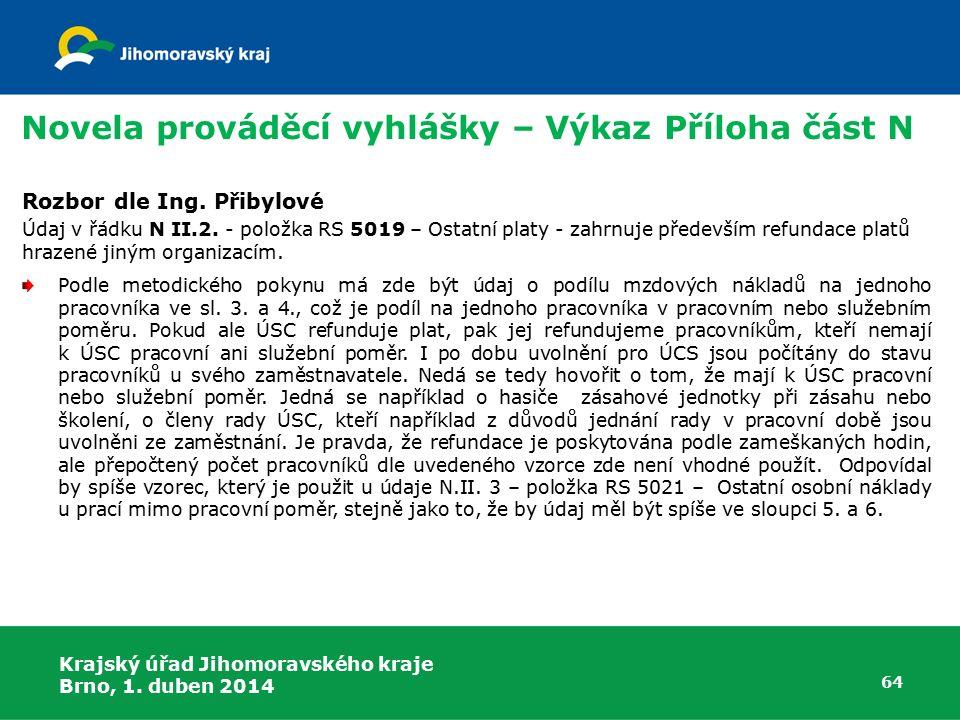 Krajský úřad Jihomoravského kraje Brno, 1. duben 2014 64 Rozbor dle Ing.