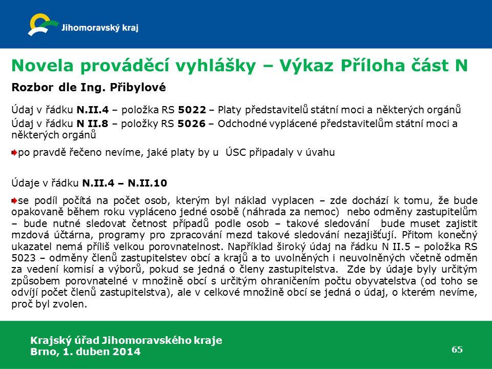 Krajský úřad Jihomoravského kraje Brno, 1. duben 2014 65 Rozbor dle Ing.