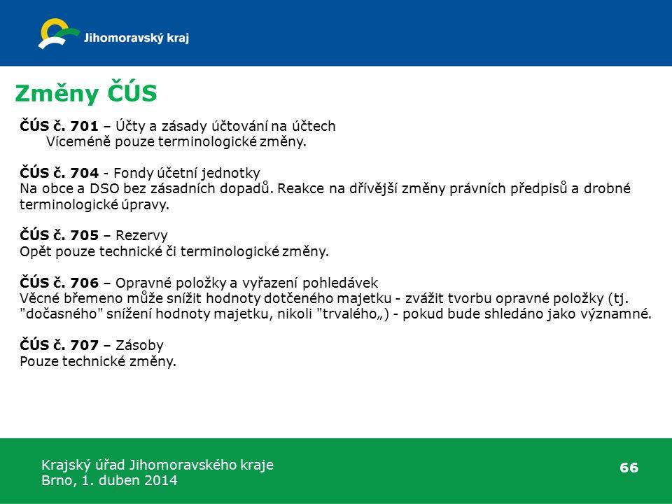 Krajský úřad Jihomoravského kraje Brno, 1. duben 2014 Změny ČÚS 66 ČÚS č.