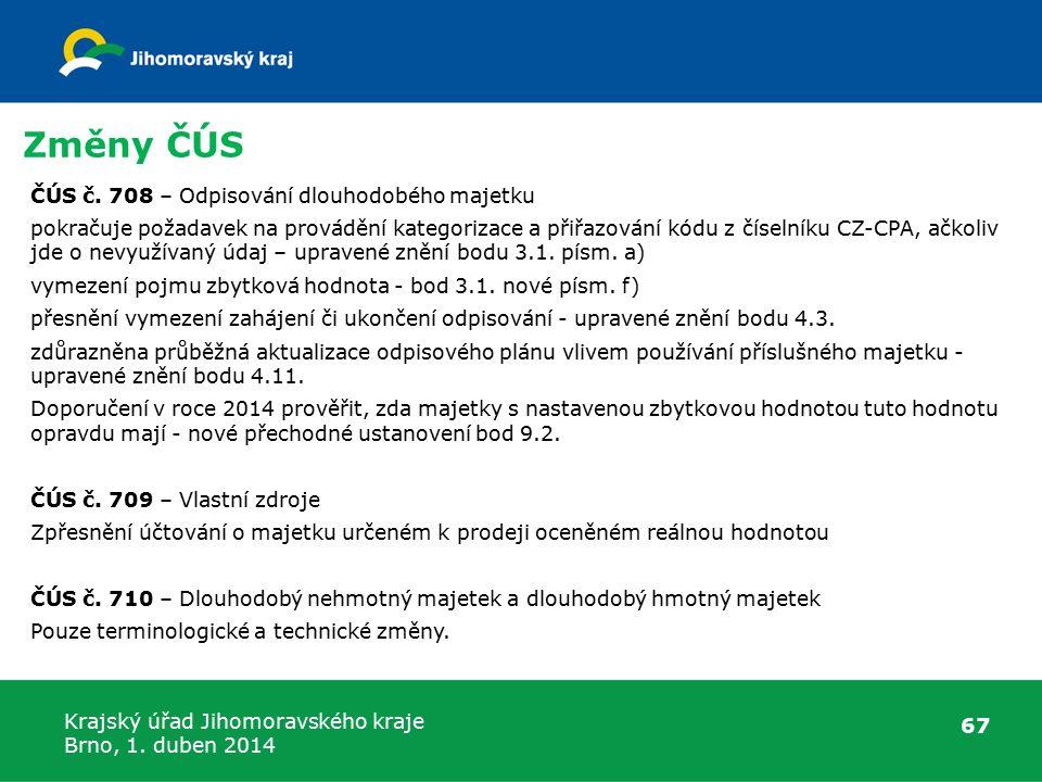 Krajský úřad Jihomoravského kraje Brno, 1. duben 2014 Změny ČÚS 67 ČÚS č.