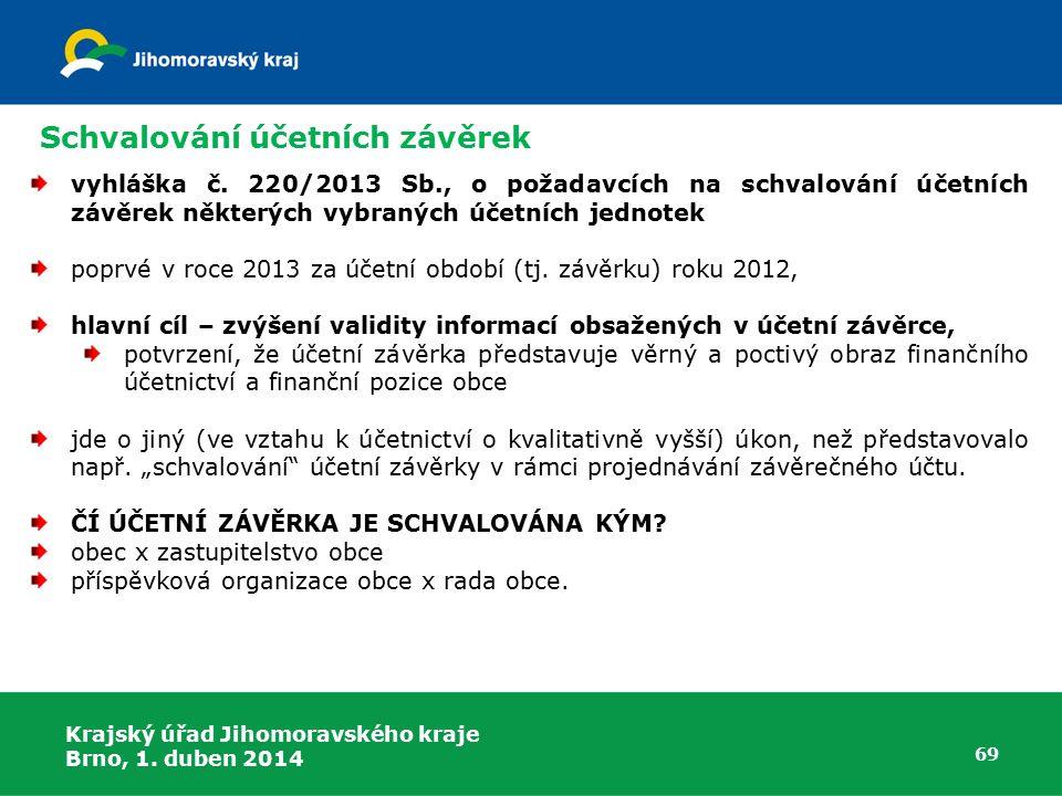 Krajský úřad Jihomoravského kraje Brno, 1. duben 2014 69 Schvalování účetních závěrek vyhláška č.