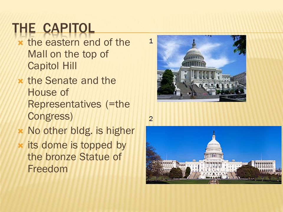  the eastern end of the Mall on the top of Capitol Hill  the Senate and the House of Representatives (=the Congress)  No other bldg.