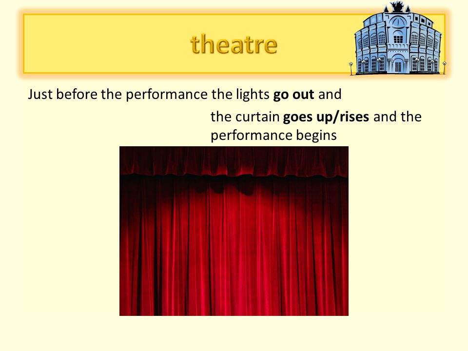 an evening dress/gown (an elegant dress/a ladies suit/a skirt and a blouse), shoes with a stilleto heel, accessories-handbag, jewellery women wear:  After taking off our coats at the cloakroom, an attendat/usherette shows us to our seat and we can buy a programme to see the cast; between the acts is an interval (to stretch our body)