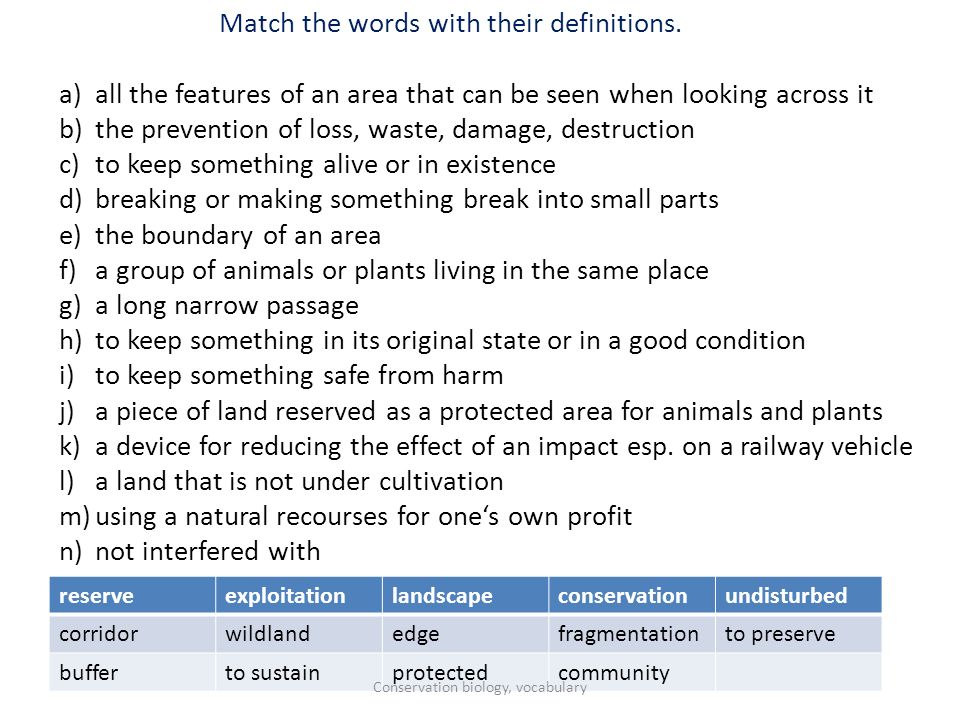Match the words with their definitions.