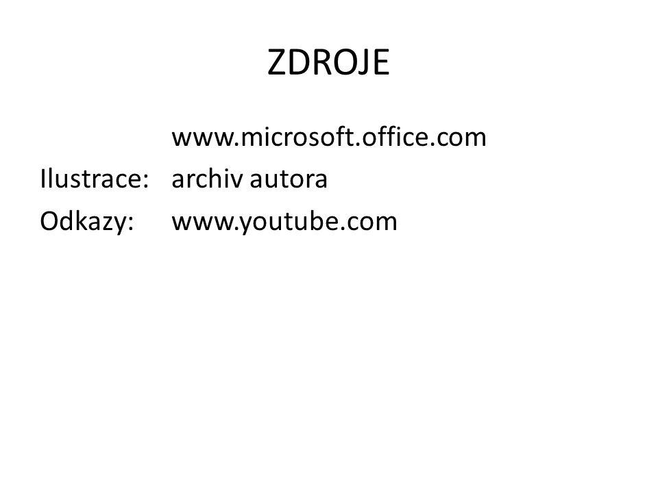 ZDROJE www.microsoft.office.com Ilustrace: archiv autora Odkazy: www.youtube.com