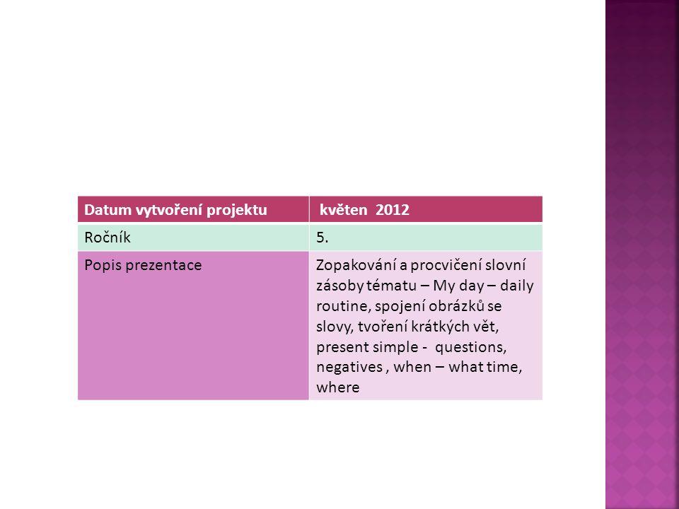 Datum vytvoření projektu květen 2012 Ročník5.