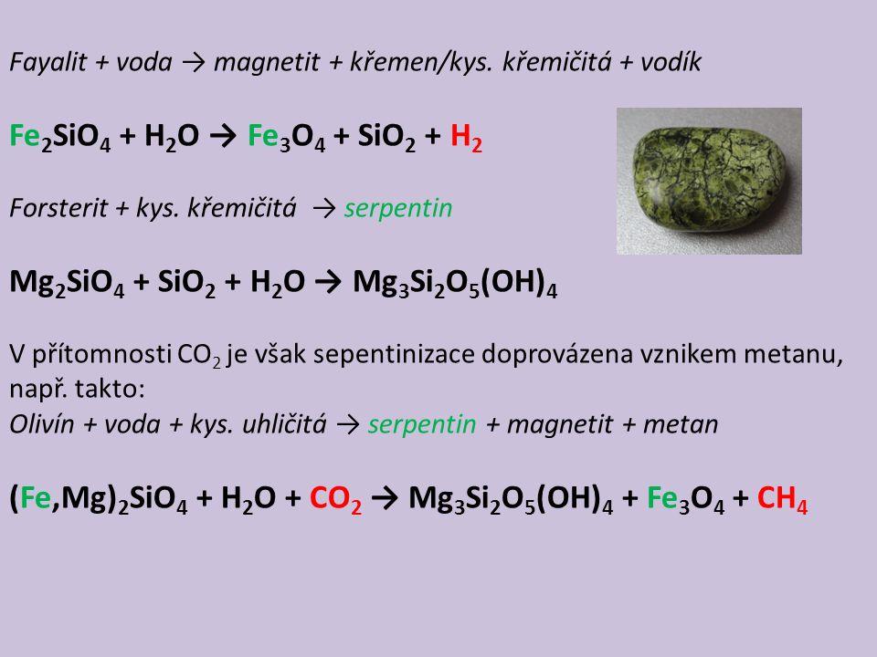 Fayalit + voda → magnetit + křemen/kys.