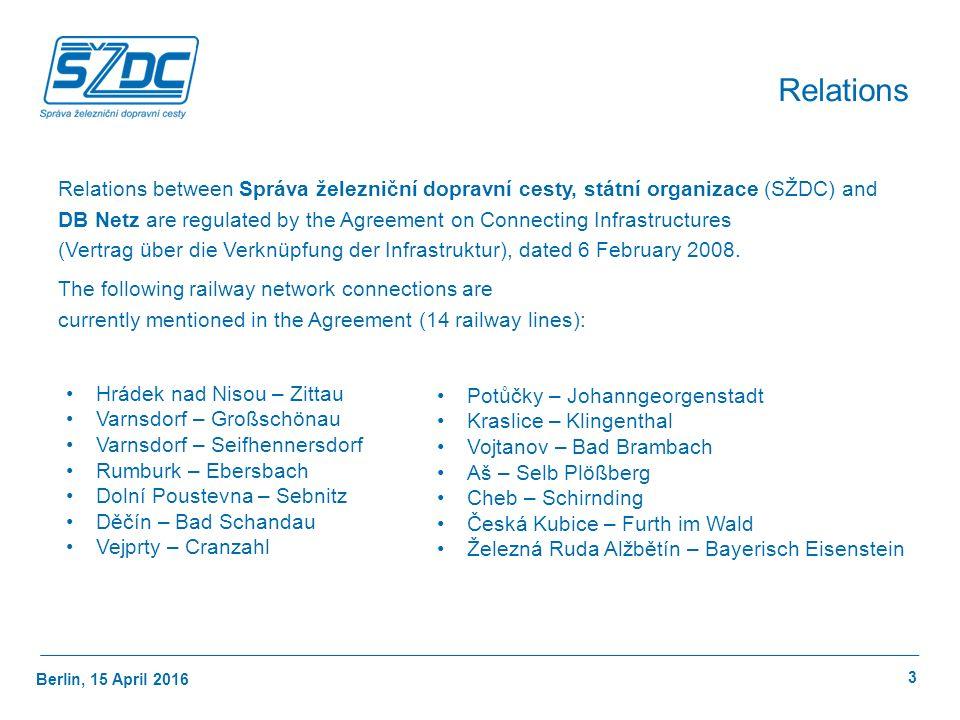 Berlin, 15 April 2016 3 Relations Relations between Správa železniční dopravní cesty, státní organizace (SŽDC) and DB Netz are regulated by the Agreement on Connecting Infrastructures (Vertrag über die Verknüpfung der Infrastruktur), dated 6 February 2008.