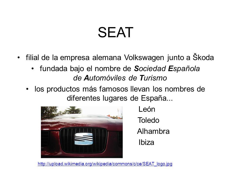SEAT filial de la empresa alemana Volkswagen junto a Škoda fundada bajo el nombre de Sociedad Española de Automóviles de Turismo los productos más famosos llevan los nombres de diferentes lugares de España...