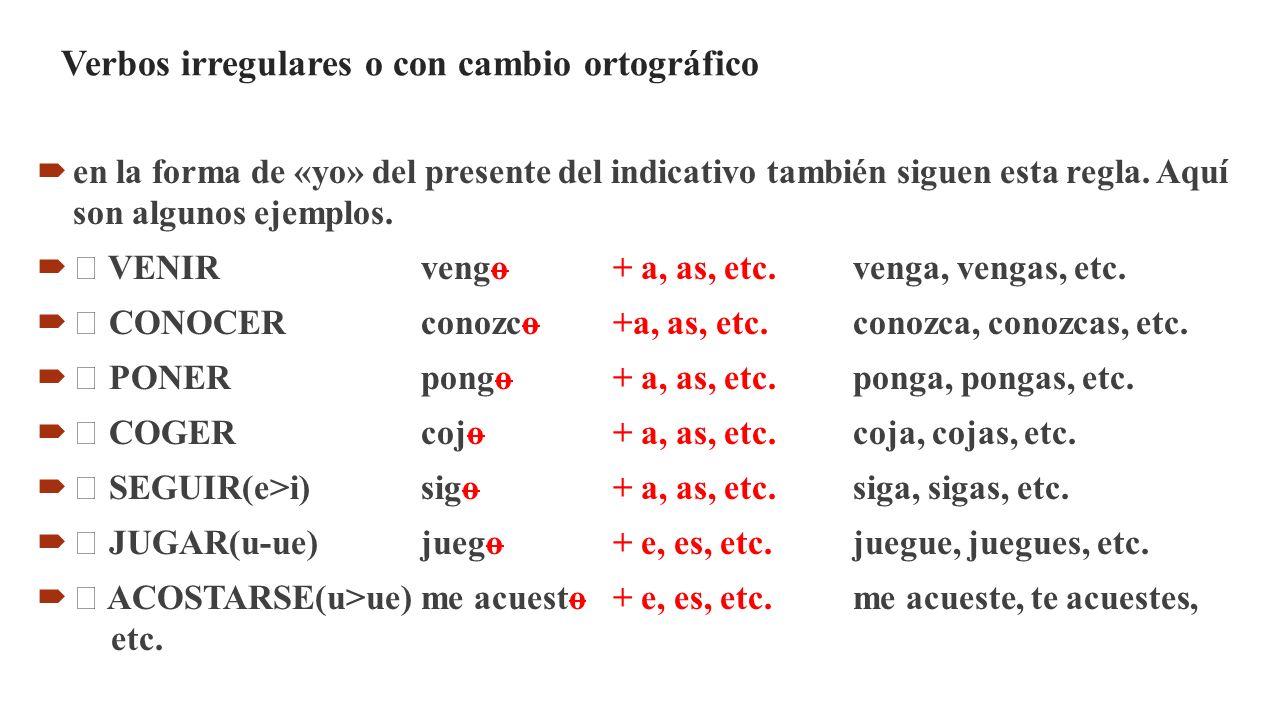 Verbos irregulares o con cambio ortográfico  en la forma de «yo» del presente del indicativo también siguen esta regla. Aquí son algunos ejemplos. 