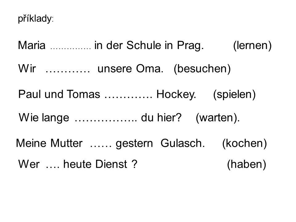 příklady : Maria …………… in der Schule in Prag. (lernen) Wir ………… unsere Oma.