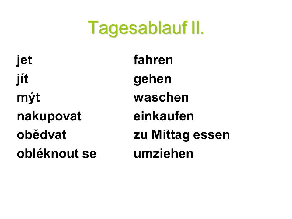Tagesablauf II.3. Vyjadřování záporu: Kein – zápor používaný před podstatným jménem.