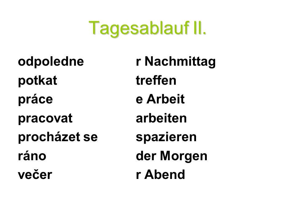 Tagesablauf II.Přelož do němčiny: 1. Já nemám práci.