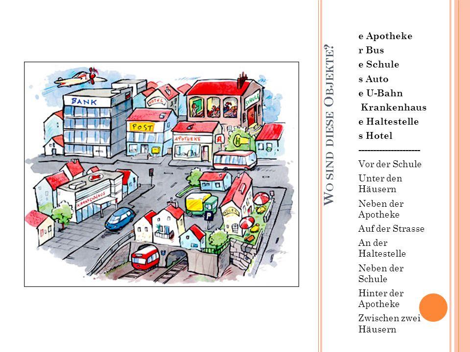 W O SIND DIESE O BJEKTE ? e Apotheke r Bus e Schule s Auto e U-Bahn Krankenhaus e Haltestelle s Hotel --------------------- Vor der Schule Unter den H
