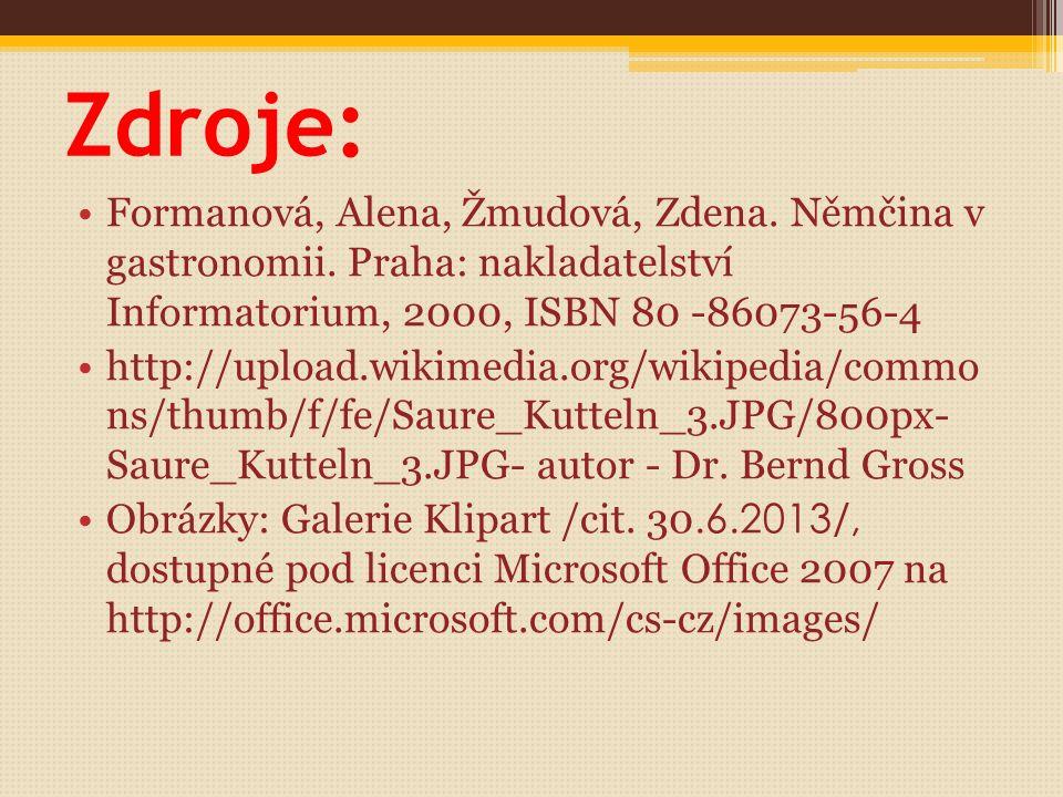 Aufgabe: Können Sie die folgenden tschechischen Gerichte beschreiben? Wie werden sie zubereitet? Szegediner Gulasch Znaimer Braten Lendenbraten mit Sa