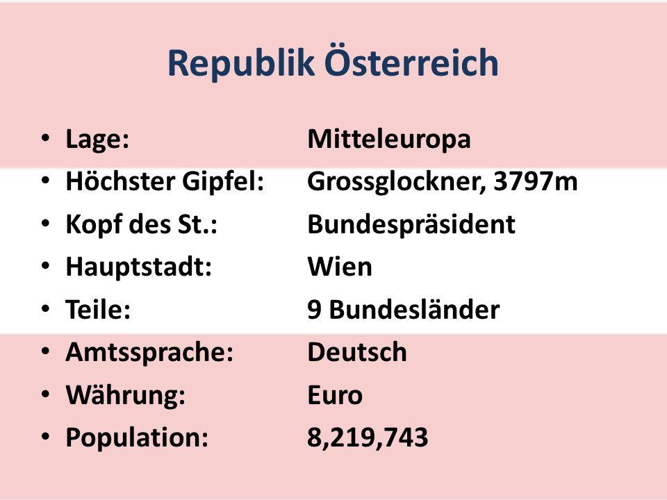 Republik Österreich Lage:Mitteleuropa Höchster Gipfel:Grossglockner, 3797m Kopf des St.:Bundespräsident Hauptstadt:Wien Teile:9 Bundesländer Amtssprache:Deutsch Währung:Euro Population:8,219,743