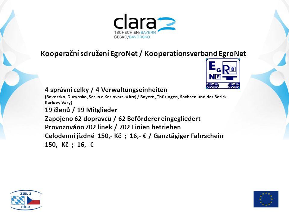 Kooperační sdružení EgroNet / Kooperationsverband EgroNet 4 správní celky / 4 Verwaltungseinheiten (Bavorsko, Durynsko, Sasko a Karlovarský kraj / Bayern, Thüringen, Sachsen und der Bezirk Karlovy Vary) 19 členů / 19 Mitglieder Zapojeno 62 dopravců / 62 Beförderer eingegliedert Provozováno 702 linek / 702 Linien betrieben Celodenní jízdné 150,- Kč ; 16,- € / Ganztägiger Fahrschein 150,- Kč ; 16,- €
