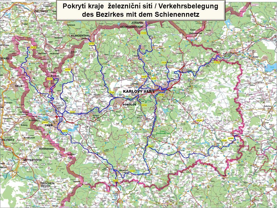 Pokrytí kraje železniční sítí Pokrytí kraje železniční sítí / Verkehrsbelegung des Bezirkes mit dem Schienennetz