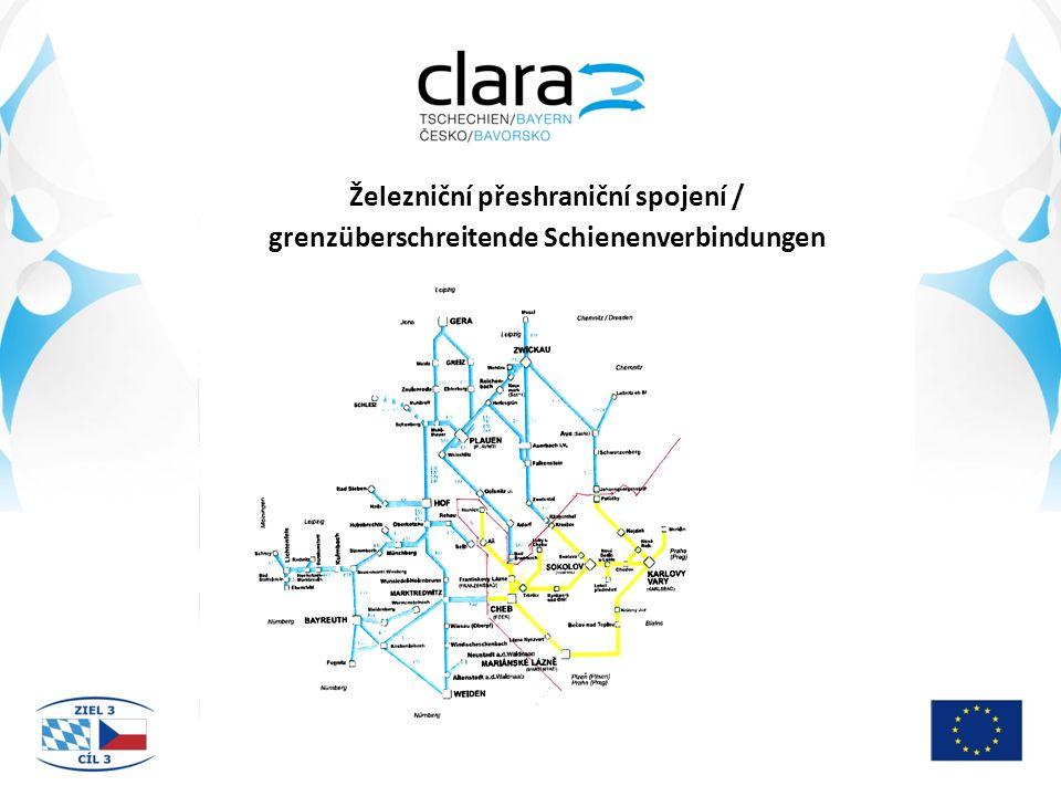 Počet přeshraničních vlaků / Anzahl der grenzüberschreitenden Züge Trať / Trasse Hraniční přechod / GrenzübergangPracovní dny / Arbeitstage Neděle – svátky / Sonntag-Feiertage 142Potůčky – Johanngeorgenstadt611 145Kraslice – Klingenthal3630 147Plesná – Bad Brambach1416 179Pomezí nad Ohří – Schirnding2022
