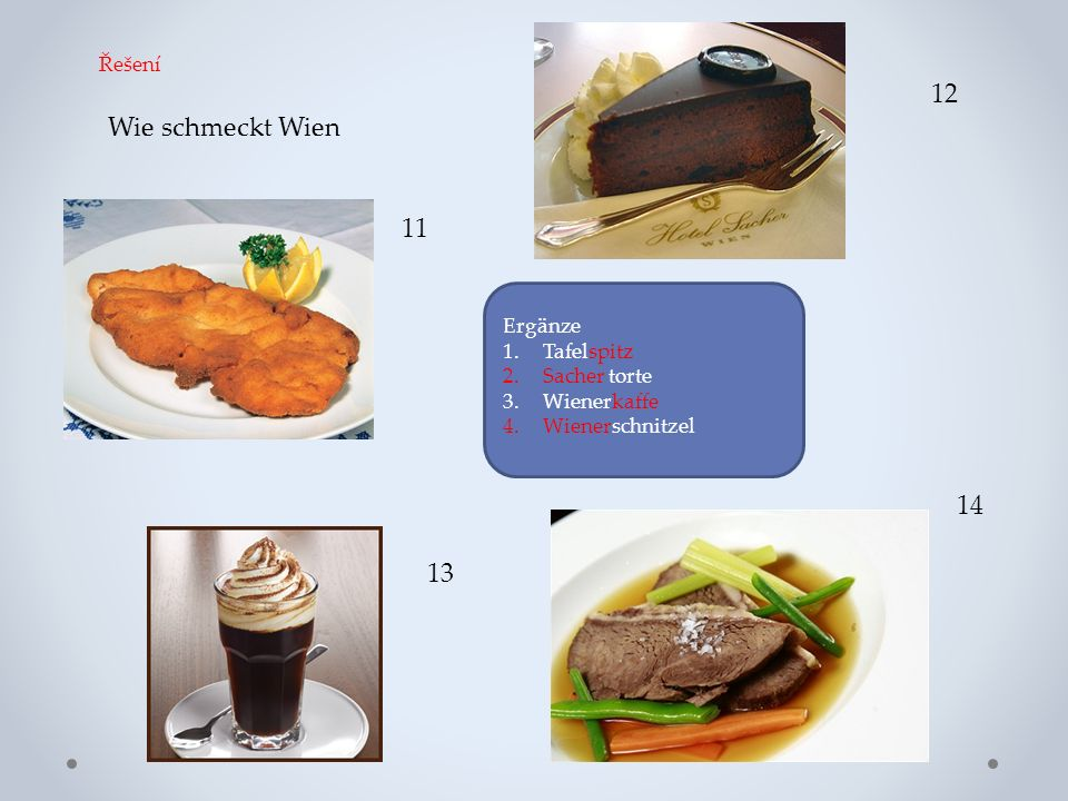 Wie schmeckt Wien 11 12 13 14 Ergänze 1.Tafelspitz 2.Sacher torte 3.Wienerkaffe 4.Wienerschnitzel Řešení