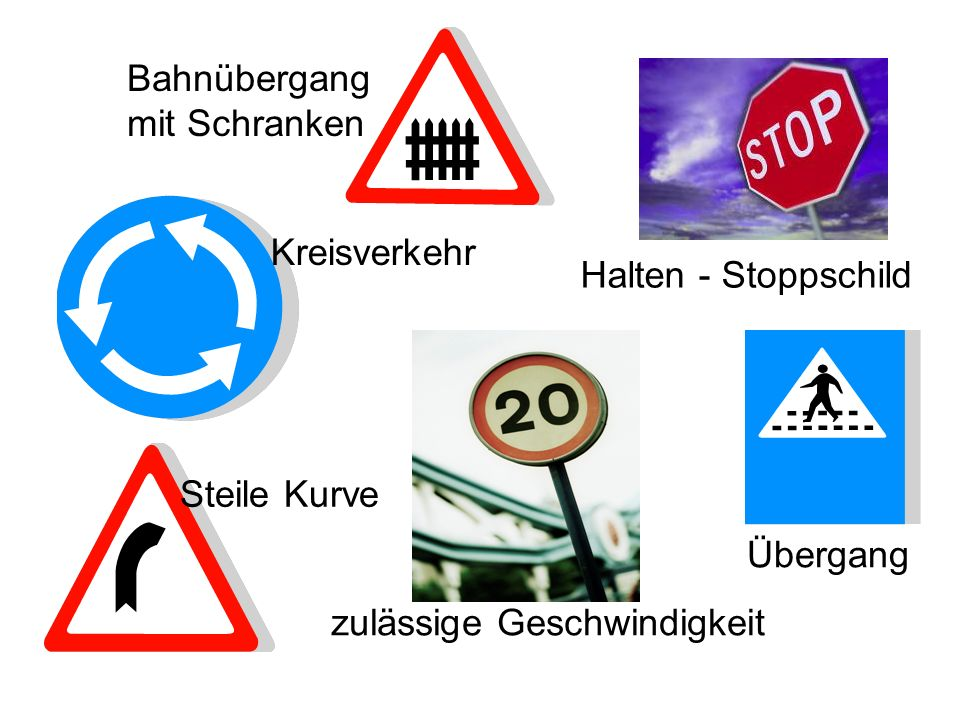 Kreisverkehr Halten - Stoppschild Bahnübergang mit Schranken Übergang zulässige Geschwindigkeit Steile Kurve