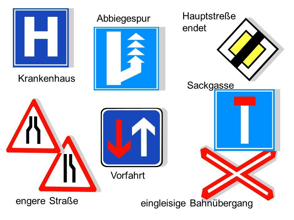 sagen Sie auf Deutsch: Kreisverkehr Vorfahrt Sackgasse zulässige Geschwindigkeit Übergang Steile Kurve Krankenhaus Kontrolle unter den Bildern